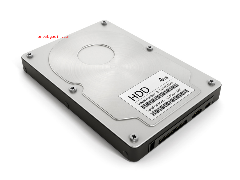 Computer hard disk drive isolated on white background.