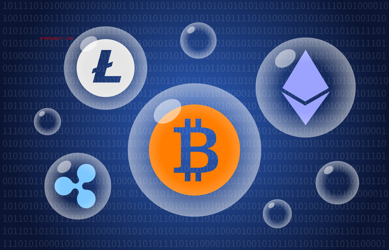 Digital cryptocurrency bubble / bubbles illustration for news apps and websites