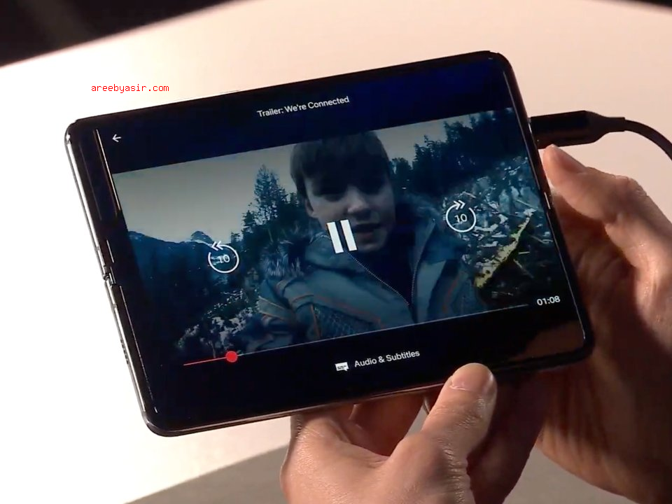 Watch videos on the Galaxy Fold on a 7.3 size screen.